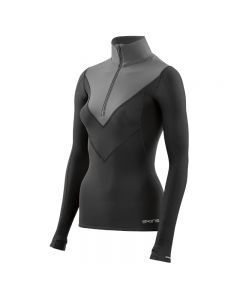 Skins DNAmic Thermal Womens L/S MckNeck w zip (black/charcoal)