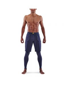 Skins Mens 5-Series Superpose Long Tights (navy blue)